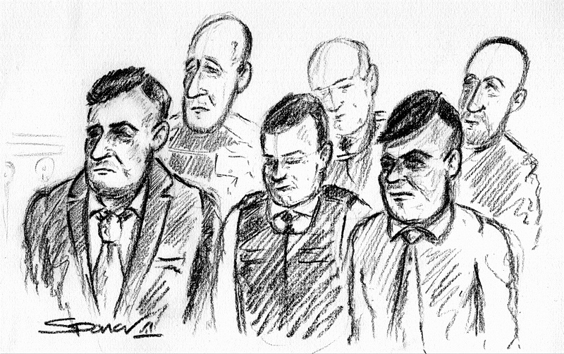 A court sketch showing front (from left) Bilal Hussain, a prison officer and Shazad Rehman. Back (from left) Raksar Nawaz, a prison officer and Yassar Adalat