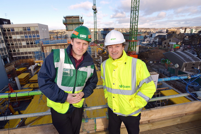 Project manager Jason Pink (left) and senior project surveyor Domonic Makohin