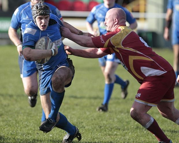 Scott Dyson on the charge for Keighley. Picture by Charlie Perry