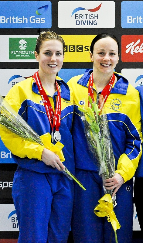 Jenny Cowen, left, with Rebecca Gallantree after winning silver in the British Gas Diving Championships