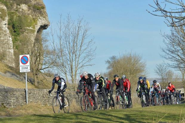 Tom Moses leads the way at Kilnsey Crag Picture: Cyclesportphotos.com