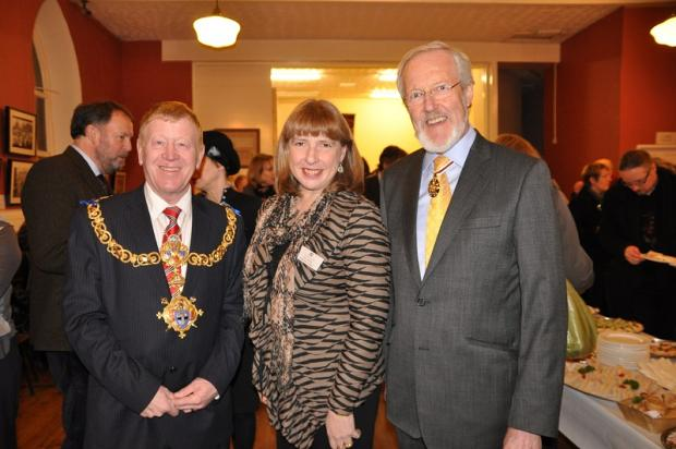 Keighley town mayor, Councillor George Metcalf, Bronte Parsonage Museum executive director, Professor Ann Sumner, and Terry Suthers, Deputy Lieutenant of West Yorkshire, enjoy the occasion