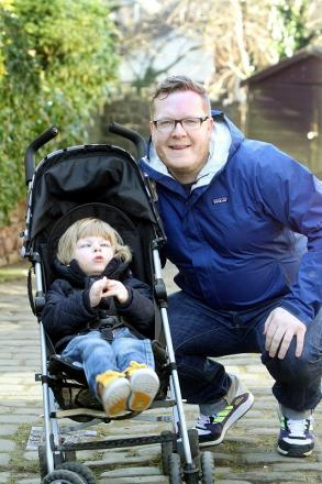 Gary Brown, who will walk Hadrian's Wall to raise cash for Phoenix School, where his four-year-old son Oliver, is a pupil
