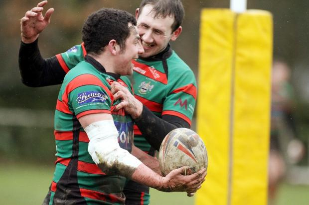 Keighley celebrate a try