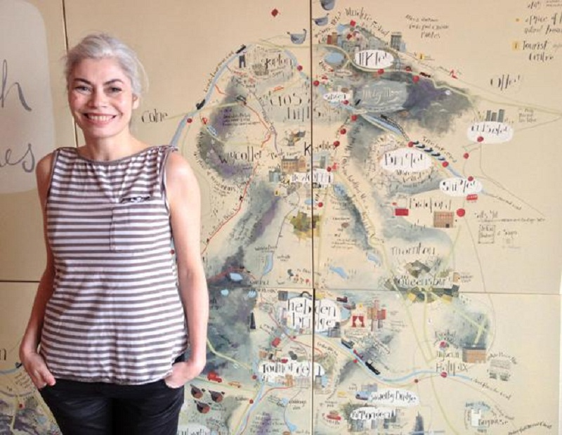 Artist Angela Smyth's spectacular new artwork, designed to encourage visitors to seek out the hidden treasures of Keighley and surrounding villages, such as Haworth and Cross Hills