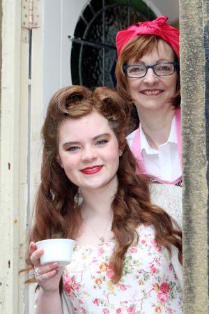Molly Ingham and Sara Packham at the Haworth 1940s nostalgia weekend