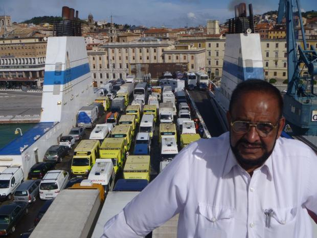 Abdul Ghafoor on a ferry transporting the ambulances for part of the journey to Pakistan