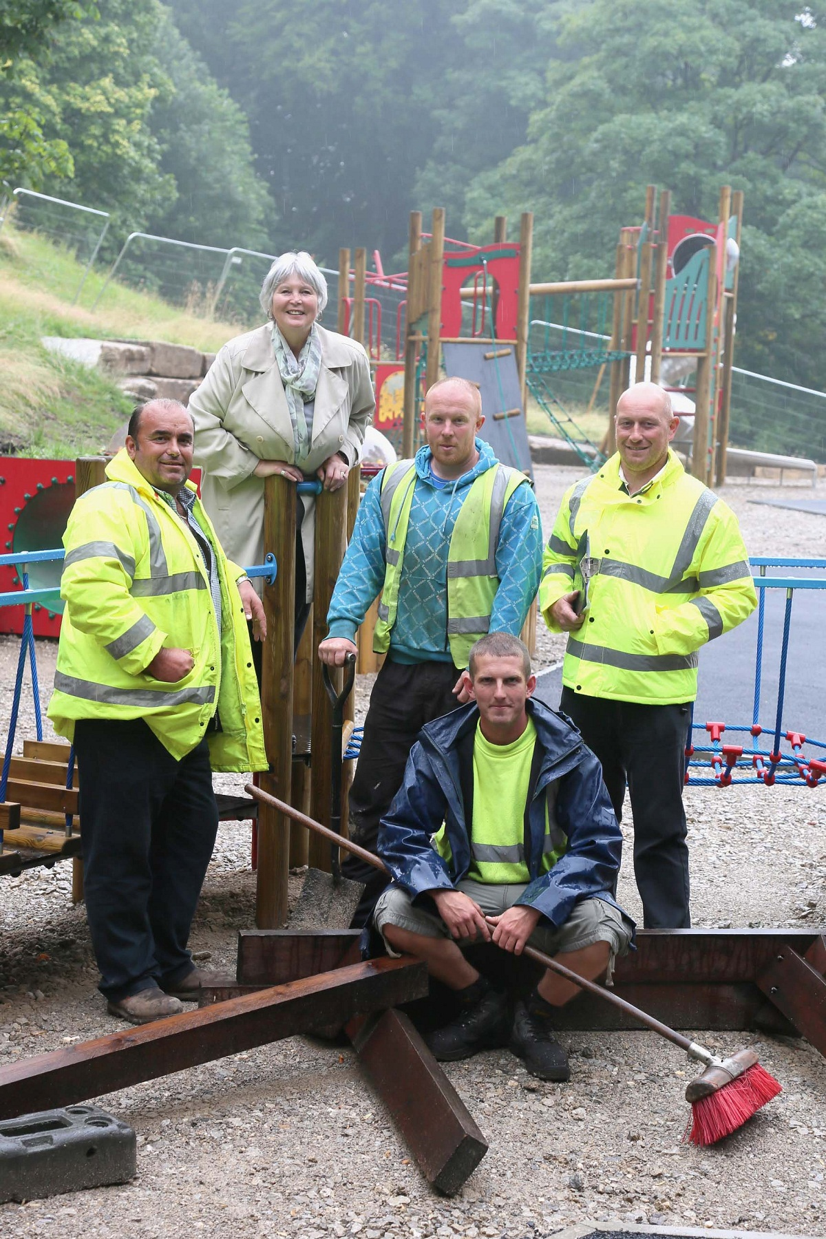 Preparing for the opening of the new Cliffe Castle Park playground are, from left, director of landscape engineering Mark Butterworth, Keighley Mayor Councillor Sally Walsh, site foreman Andy Kelly, council worker Lukas Richardson (front) and technical of
