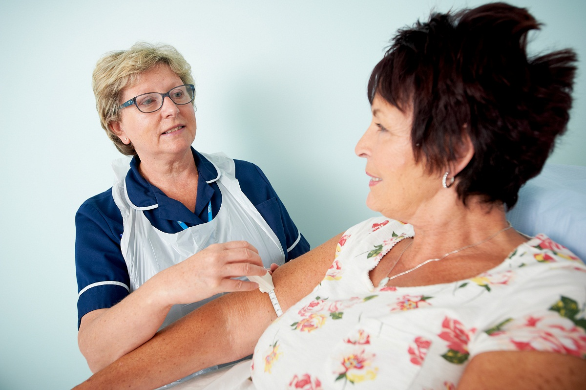 Pat Gardner, lead lymphoedema nurse practitioner at Airedale NHS Foundation Trust, with patient Pat Ferguson