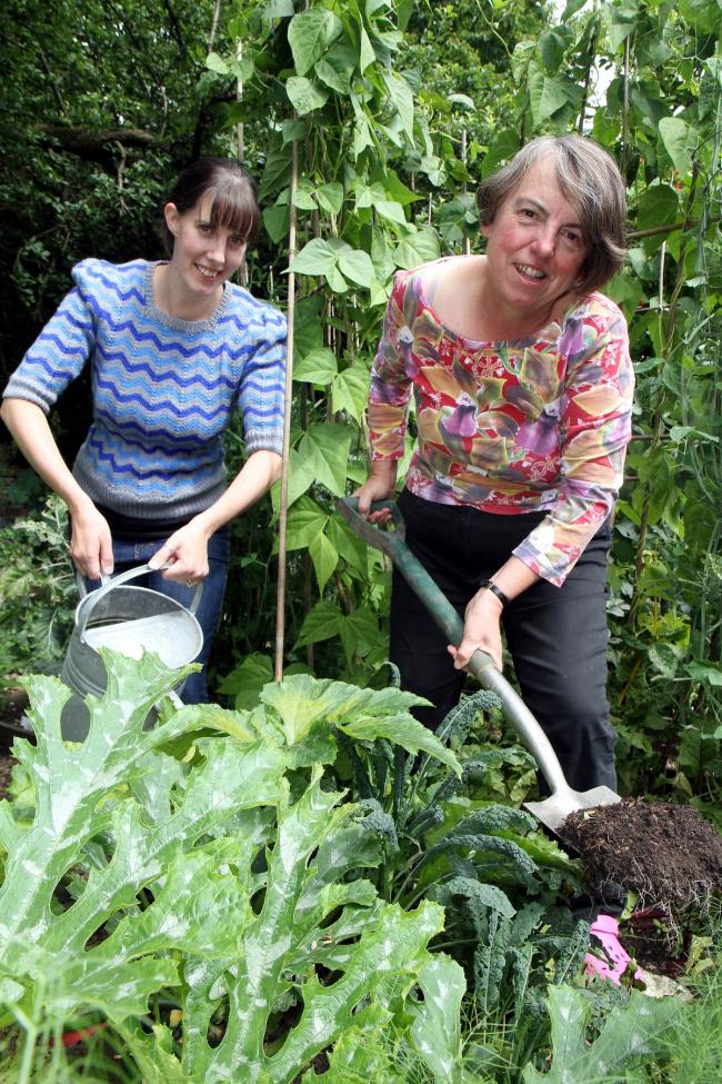 Councillor Jan Smithies, right, is joined in her vegetable garden by Pippa Chapman, of Transition Keighley