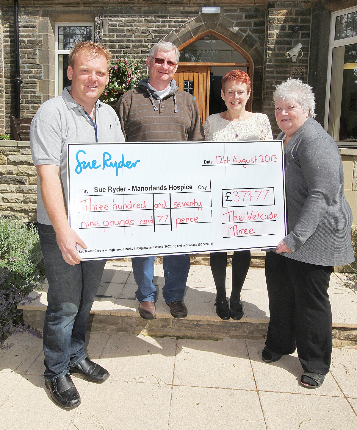 Manorlands fundraiser Andrew Wood, Tony Morton, Jacky Pickles and Janice Wrigglesworth at the cheque presentation