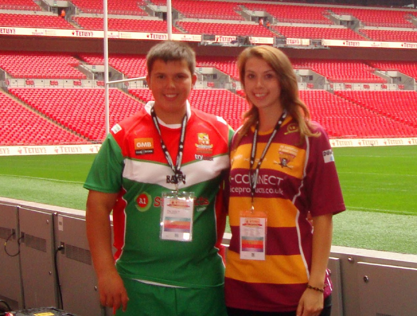 Wembley honour: James and Natasha Whitcombe at the Challenge Cup final