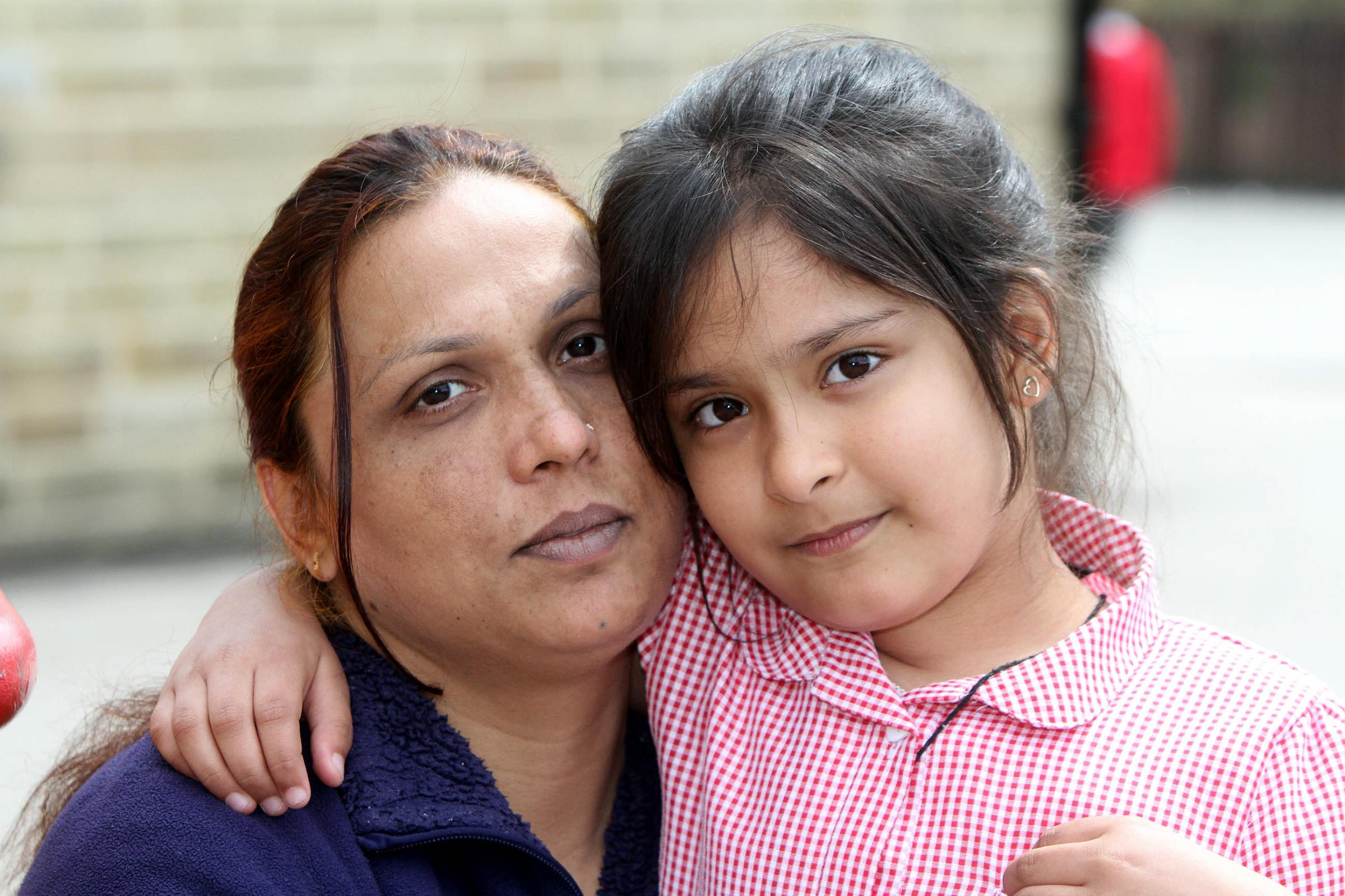 Ayesha Ali and her daughter Dua Ali, six, who are fighting against deportation for a third time
