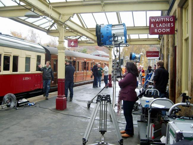 Filming for the BBC drama series Peaky Blinders taking place at Keighley Railway Station