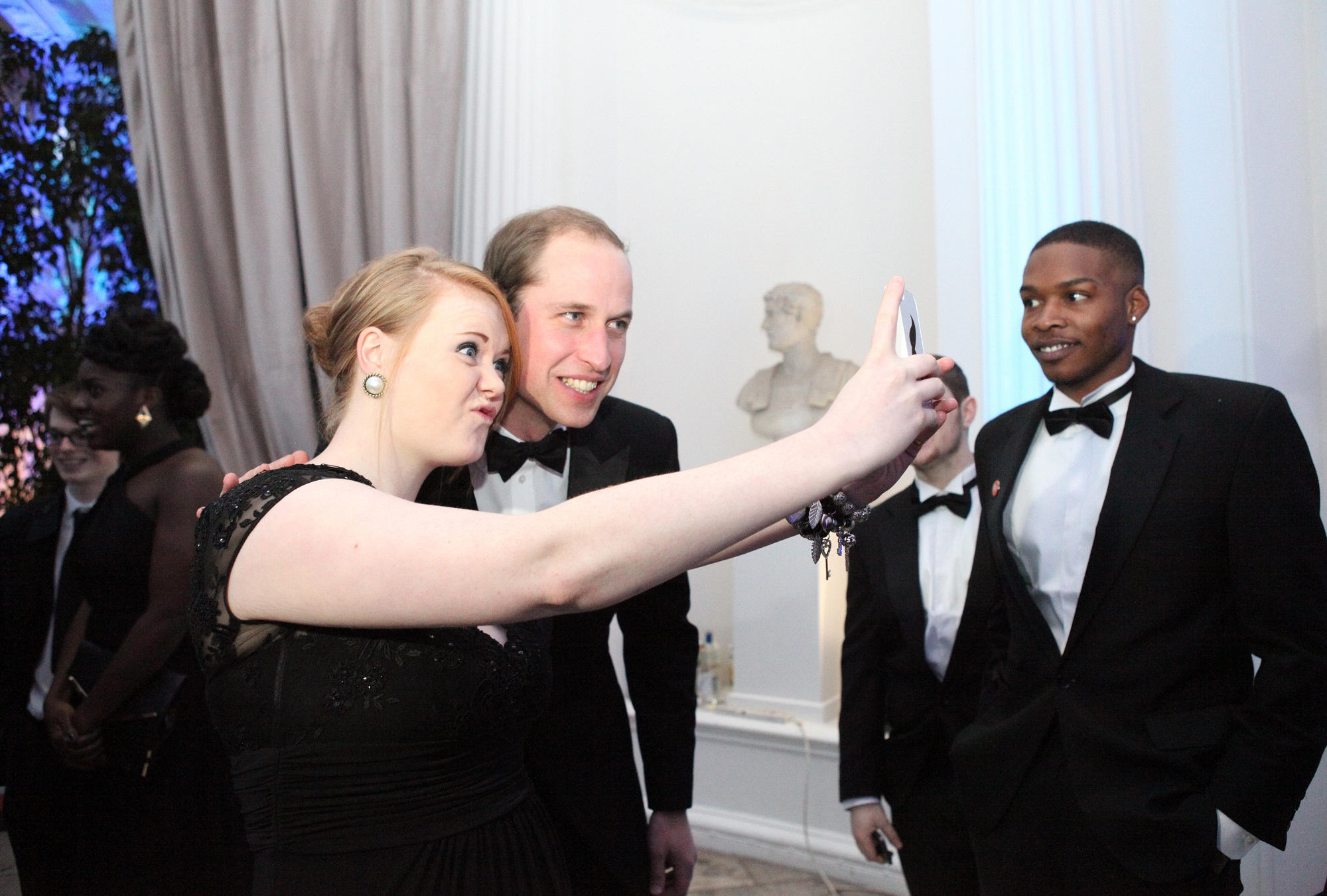 Keighley teenager, Maisie Brook, taking her 'selfie' with Prince William