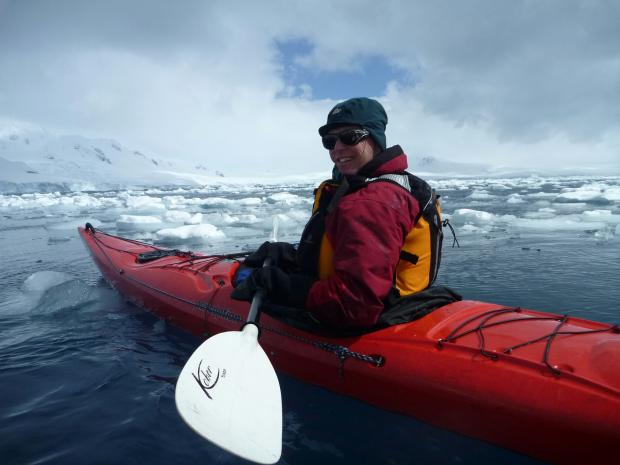 Stuart McNeil, above, kayaking during his Antarctic expedition