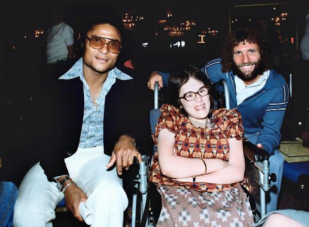 Football legend Eusebio, left, pictured with former Keighley soccer star, Trevor Hockey, and Julie Collins, who met both of them on a special trip to Las Vegas