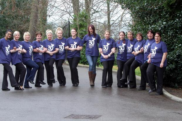 taff from Currergate Nursing Home in Steeton preparing to step out on their sponsored walk on Saturday in aid of the Manorlands hospice
