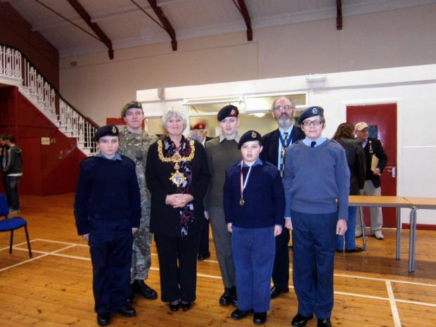 Town mayor, Councillor Sally Walker, and her husband and consort, Martin, with cadets at the Keighley Royal British Legion poppy appeal awards presentation