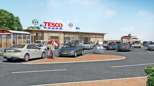 An artist's impression of the proposed medium-sized Tesco store which could be built in Keighley Road, Silsden