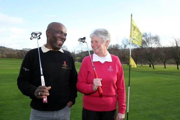 Keighley Golf Club president Ripton Wilson with his successor Elaine Pearson