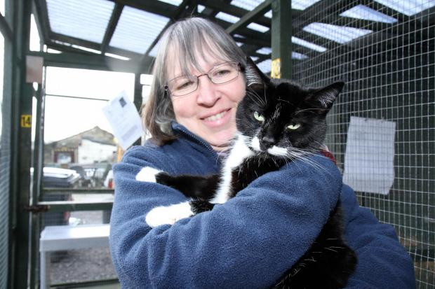 Sara Atkinson with Sox, one of the cats being cared for at Yorkshire Cat Rescue
