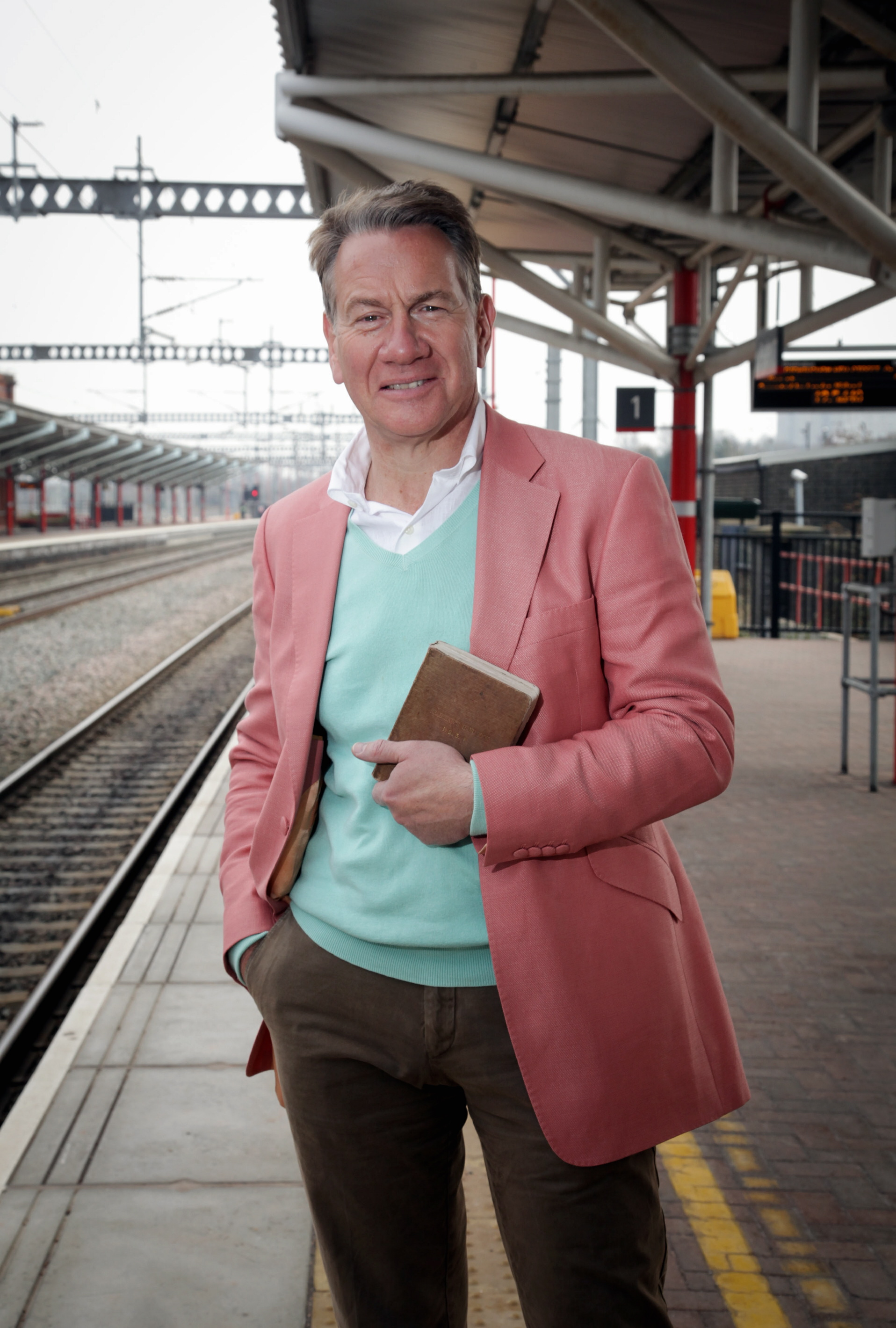 Michael Portillo at Keighley railway station during f