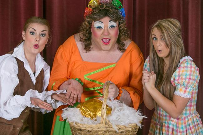 Starring in Keighley Amateurs' panto Mother Goose are, from left, Fiona Spencer, Steven Clark and Brogan Hollindrake