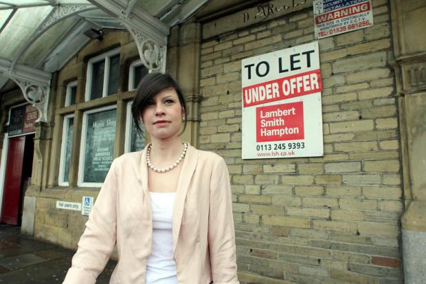 Nicola Mitchell outside the former parcel office at Keighley Railway Station, which is being transformed into a cafe