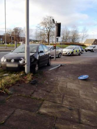 Car runs into pole at Keighley roundabout