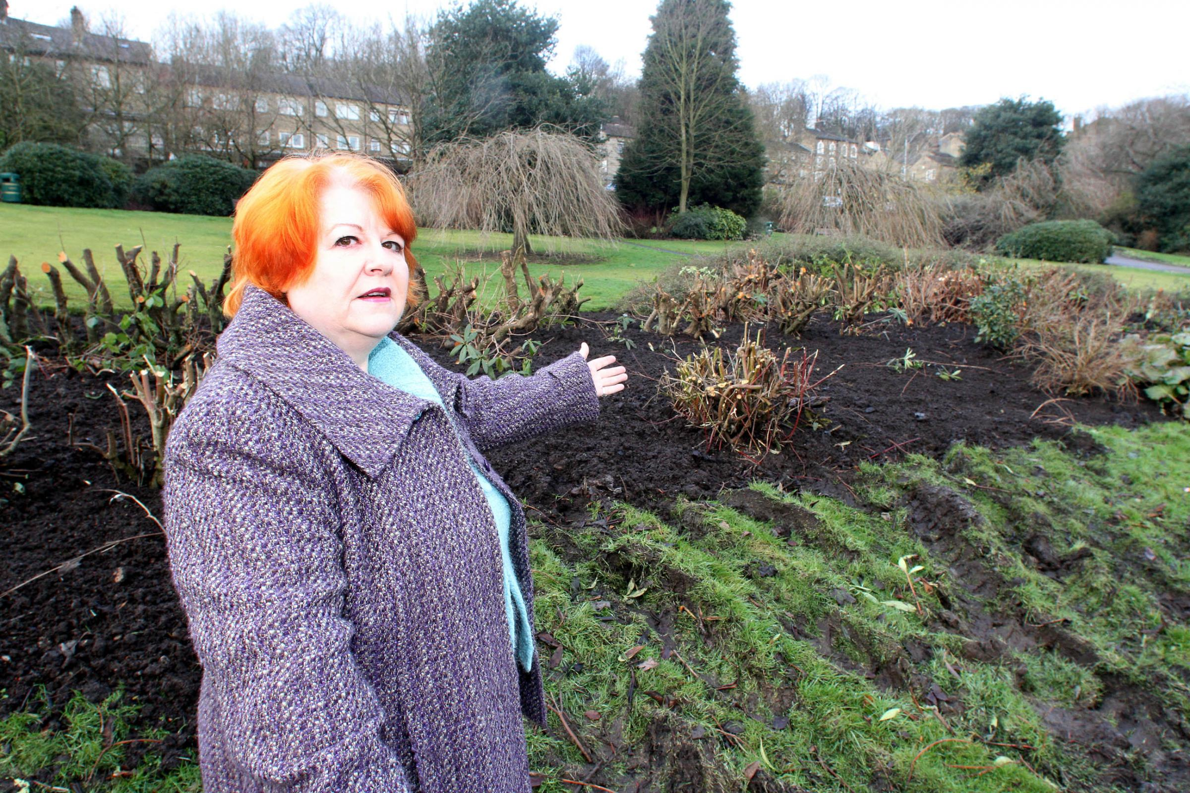 Councillor Angel Kershaw is angry shrubs in the village's Central Park have been so severely pruned ahead of the Tour visit