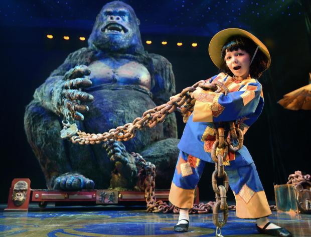 Little Ernie – the 19ft 8in tall gorilla that dominates the stage at Bradford Alhambra's performance of Aladdin, is tamed by the smallest Sunbeam, seven-year-old Gabriella Baglio