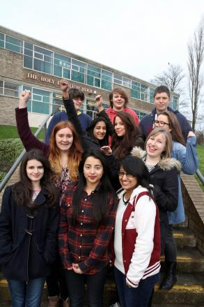 Holy Family year 12 students celebrate the school's GCSE grades success