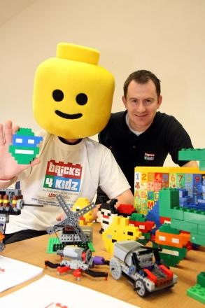 Keith Moran is joined by Lego Man Wayne Hunnebell at Keighley's Central Hall to promote free weekly play events