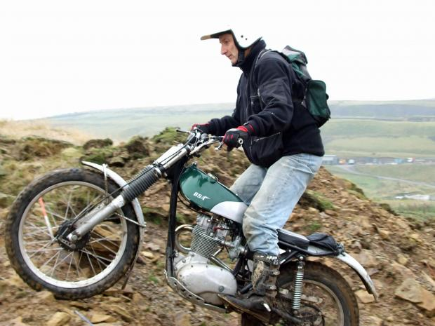 Graham Lampkin, riding one of his bikes in training for the off-road trip to the Shetland Islands in aid of Cancer Research UK