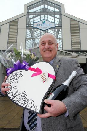 Airedale Shopping Centre manager Steve Seymour with some of the prizes on offer in the Perfect Partner competition
