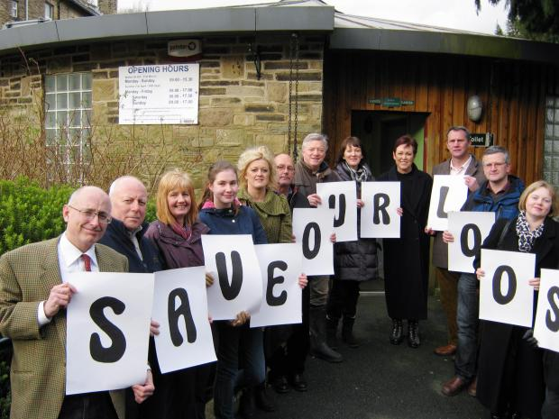 TV presenter Christa Ackroyd (fourth right) joins fellow campaigners fighting to save Haworth's Central Park toilet block from being axed as part of Bradford Council cuts