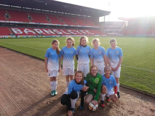 Parkside School representing Bradford City at Barnsley's ground