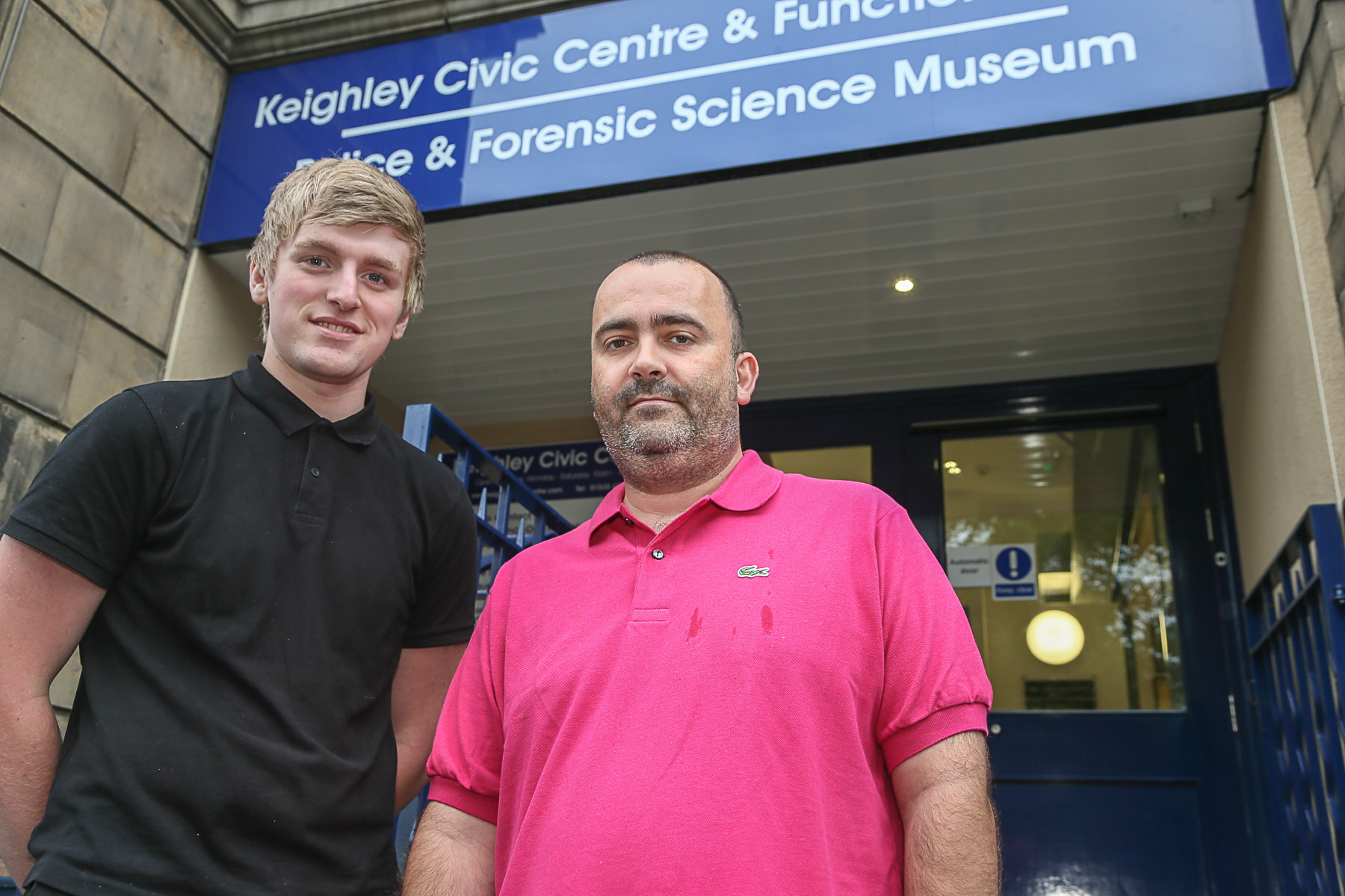 Gavin Farrar (right) with Wayne Hunnebell outside Keighley Civic Centre when Confianza moved out of the North Street building last year