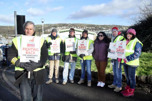 Keighley News: Unite pickets outside Keighley ambulance station during the strike action taken on Saturday