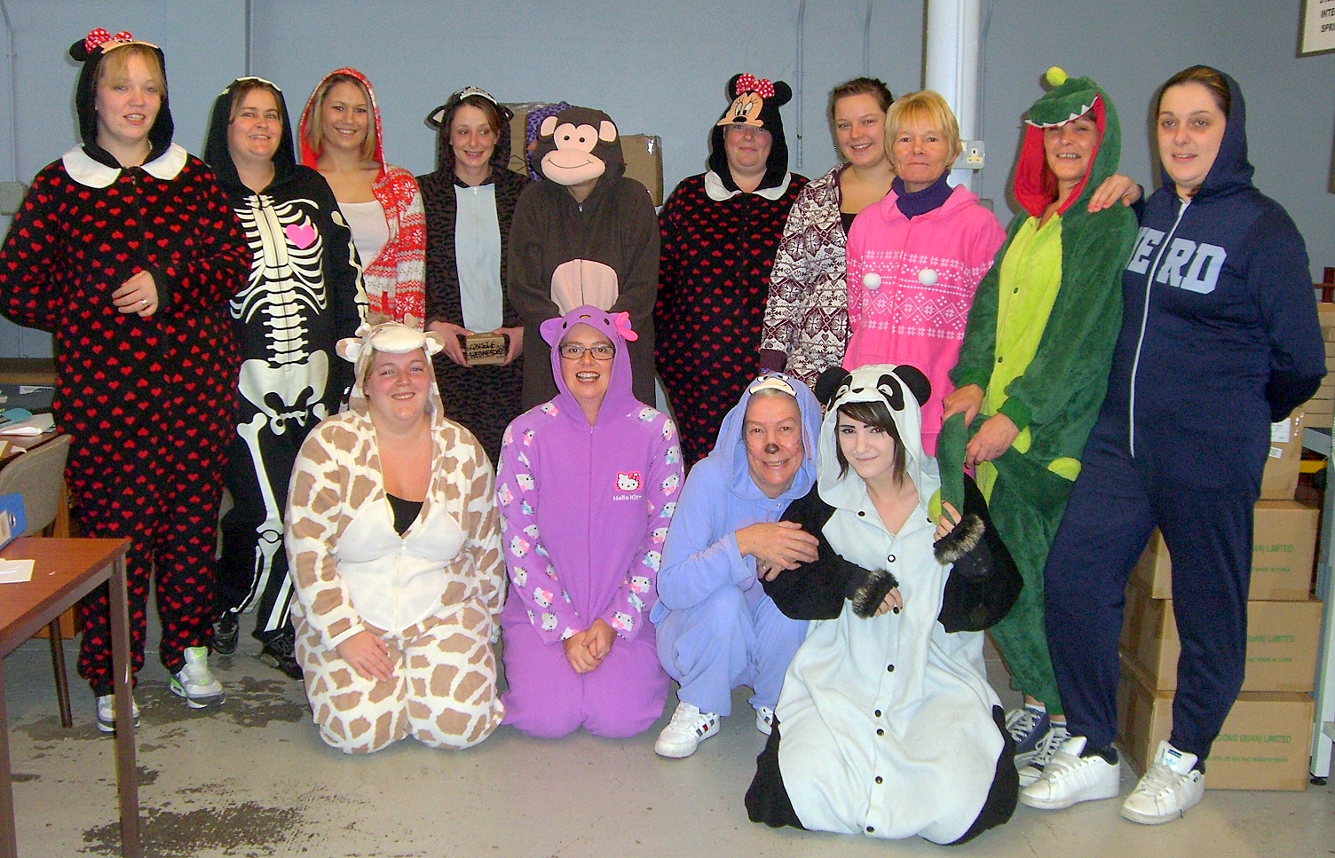Staff at NSF Controls Ltd in Keighley take part in the Onesie Wednesday to raise funds