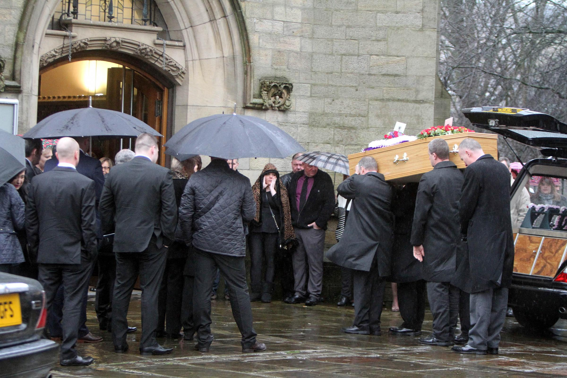 Lorna Clymo's coffin arrives at Keighley Shared Church