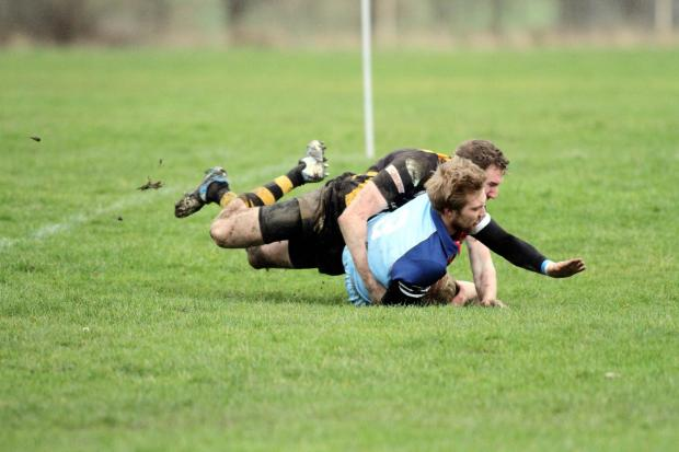 Keighley News: Worth Village's Sean Knapper goes over for a try
