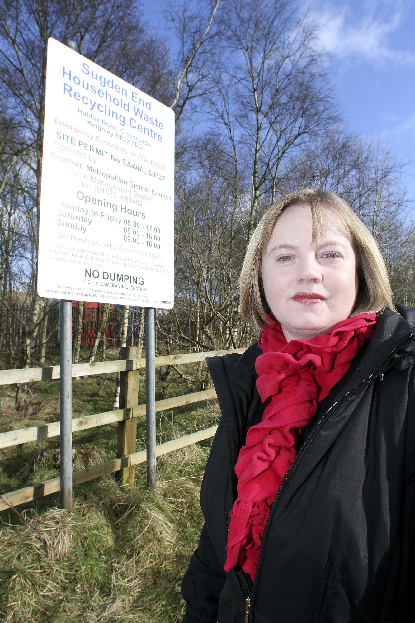 Councillor Rebecca Poulsen, outside the Sugden End household waste-recycling centre