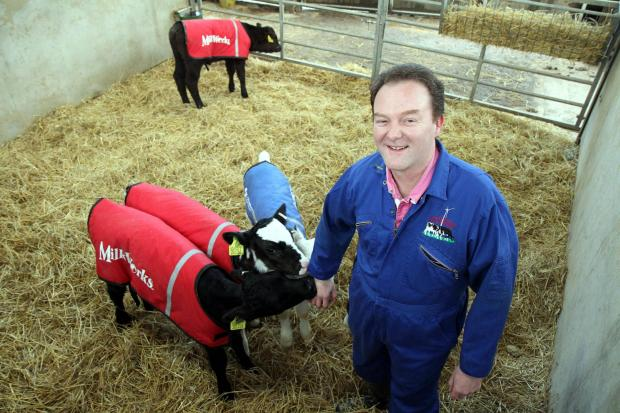 Northern Farmer awards finalist, Jonathan Sharp, with some of his calves at Tewitt Hall Farm in Oakworth