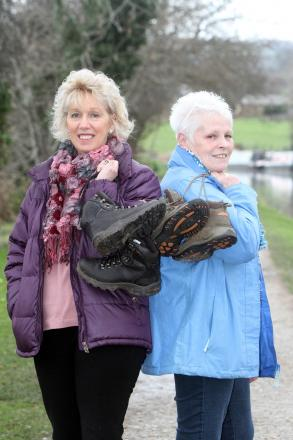 Barbara Staveley, left, and Pauline Howard, who will walk along the Leeds-Liverpool Canal towpath to raise funds for Callum Ingham