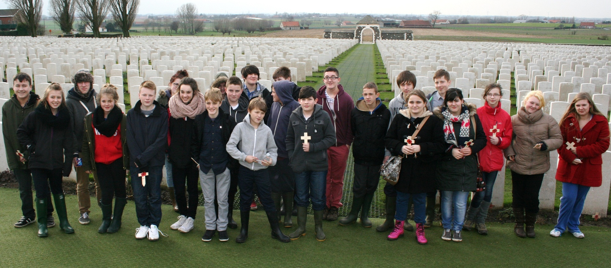 students at Tyne Cot, the world's largest cemetery for Commonwealth forces