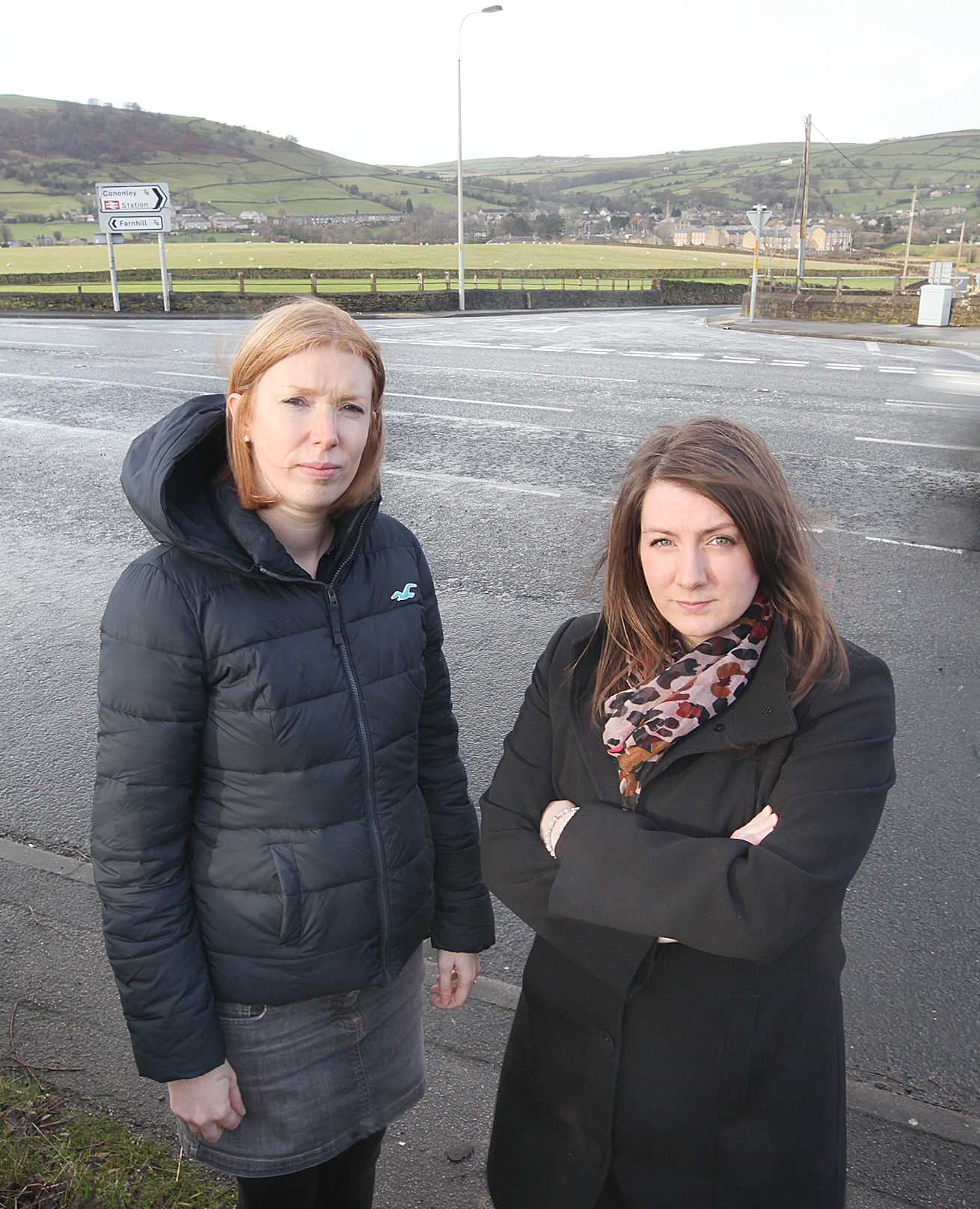 Cononley and Farnhill councillors, Lois Brown and Gemma Harling, lobby for improvements to the dangerous Cononley Lane Ends junction on the A629
