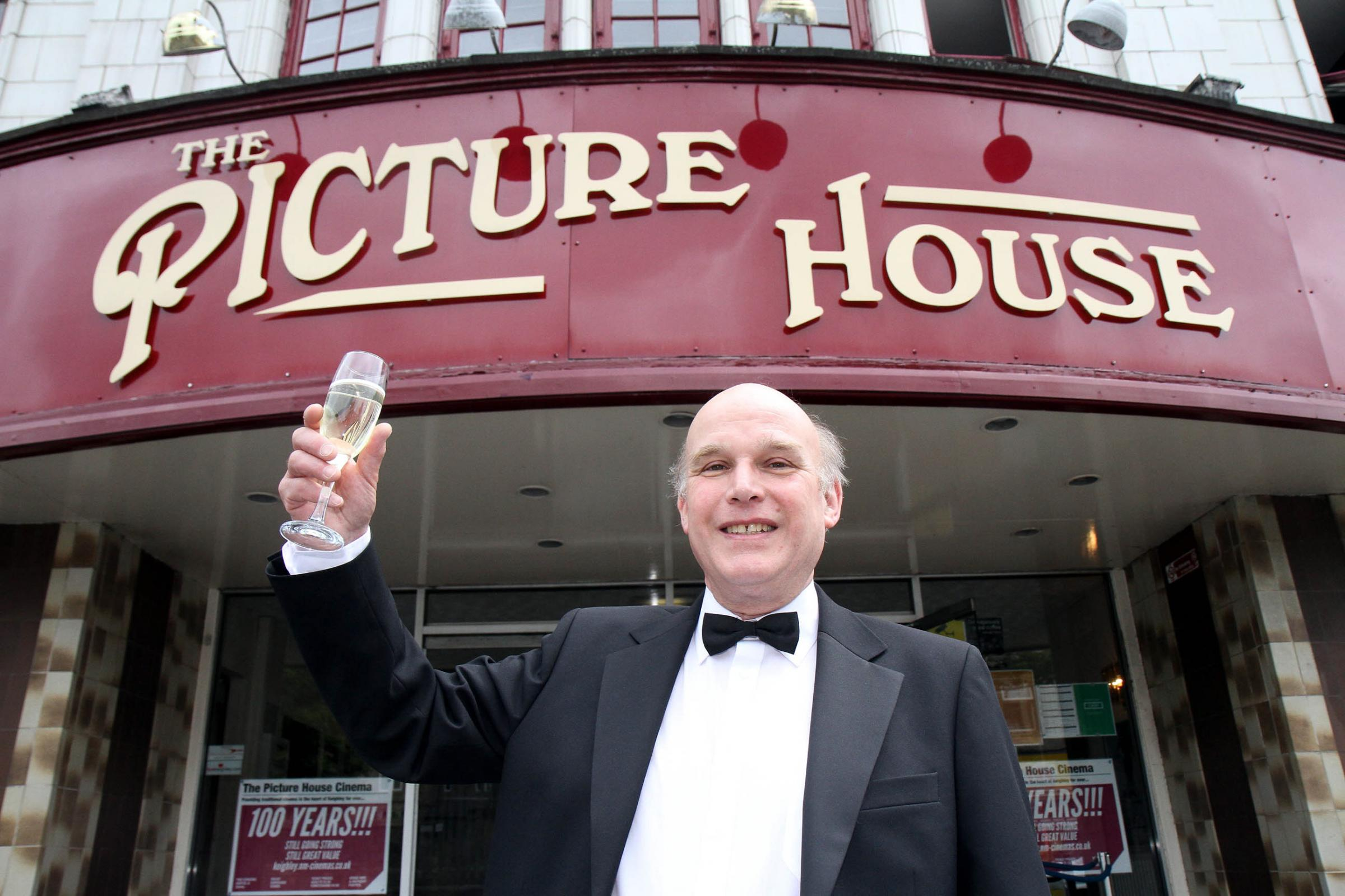 Cinema entrepreneur, Charles Morris, outside Keighley's Picture House