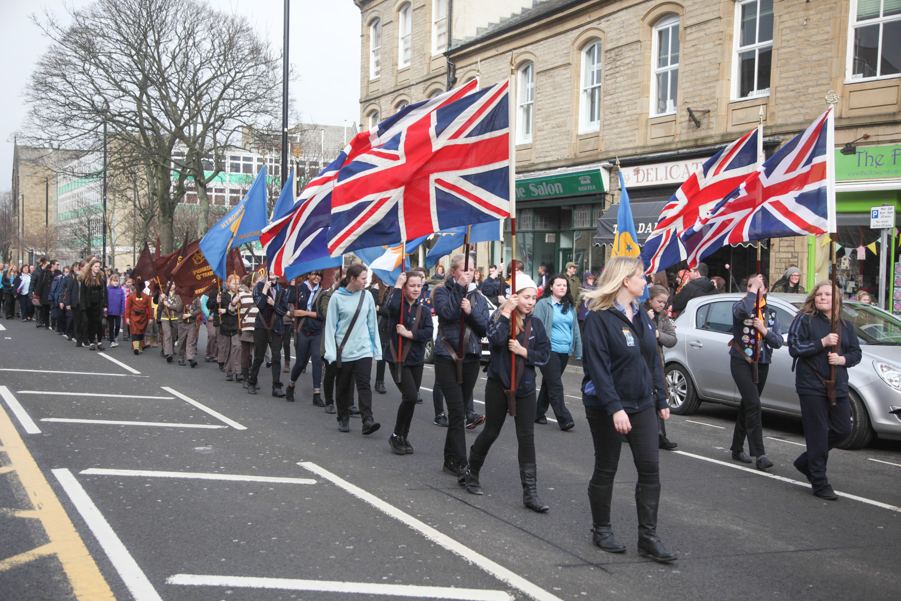 The parade makes its way through Keighley